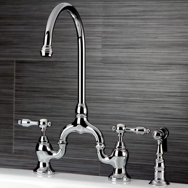 Tudor Bridge Kitchen Faucet with Brass Sprayer. Opens flyout.
