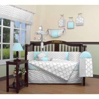GEENNY Glacier Blue Gray Chevron 13 Piece Baby Nursery Crib Bedding Set