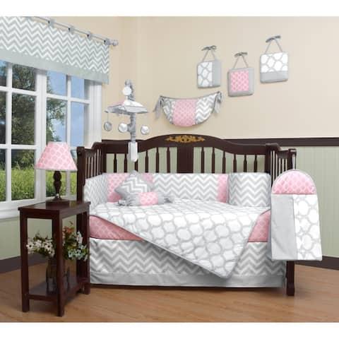 GEENNY Salmon Pink Gray Chevron 13 Piece Baby Nursery Crib Bedding Set