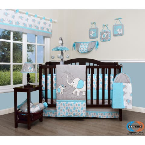GEENNY Blizzard Blue Grey Elephant Baby Nursery Crib Bedding Set