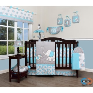 GEENNY Blizzard Blue Grey Elephant Baby Nursery Crib Bedding Set