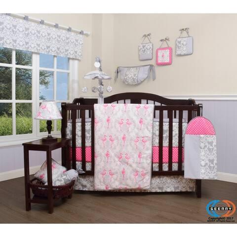 GEENNY Pink flamingo bird 13 Piece Baby Nursery Crib Bedding Set