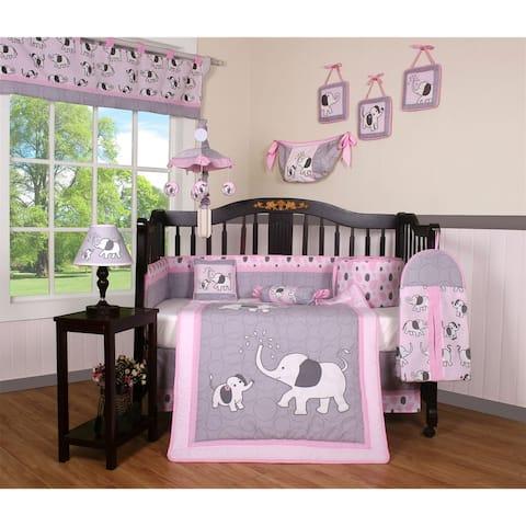 GEENNY Pink Gray Elephant 13 Piece Baby Nursery Crib Bedding Set