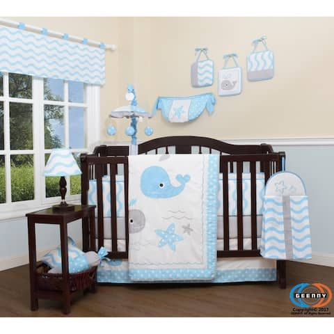 GEENNY Lovely Whale 13 Piece Baby Nursery Crib Bedding Set
