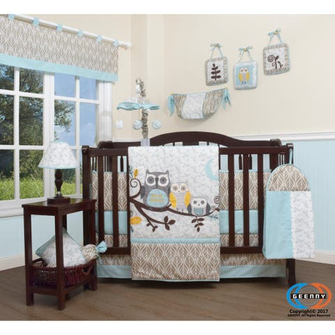 GEENNY Enchanted forest owls family 13 Piece Baby Nursery Crib Bedding Set