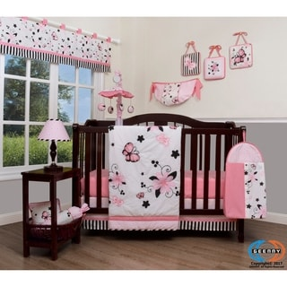 GEENNY New Pink Butterfly 13 Piece Baby Nursery Crib Bedding Set