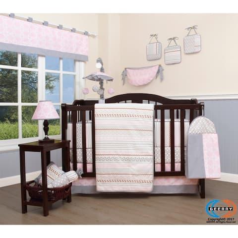 GEENNY Pink Grey geometry 13 Piece Baby Nursery Crib Bedding Set