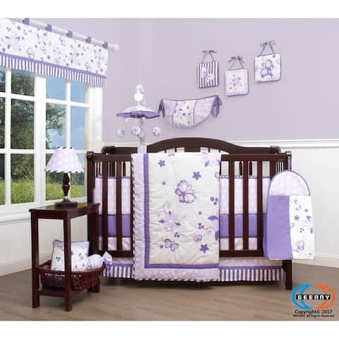 GEENNY New Lavender Butteryfly 13 Piece Baby Nursery Crib Bedding Set