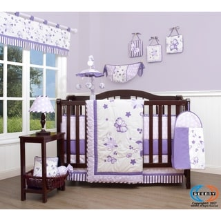 GEENNY New Lavender Butteryfly 13 Piece Baby Nursery Crib Bedding Set