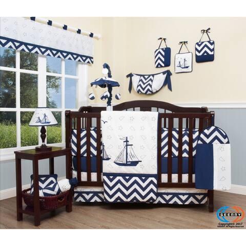 GEENNY Nautical Explorer 13 Piece Baby Nursery Crib Bedding Set