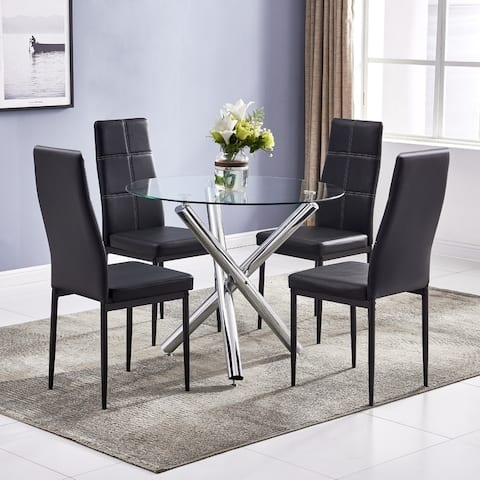 Modern Dining set with Round Glass Table and Chairs (Set of 5)