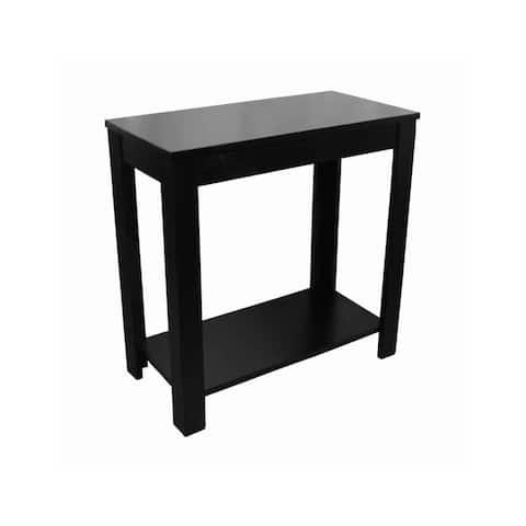 Wooden Chairside Table with Bottom Shelf and Block Legs, Black