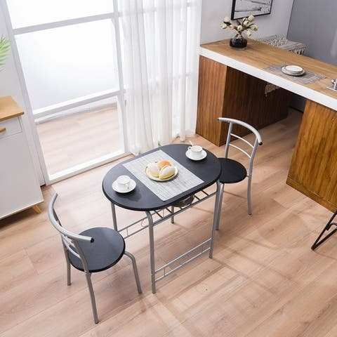 Modern Dining Set Simple Bar Table and Tound Stool (Set of 3)