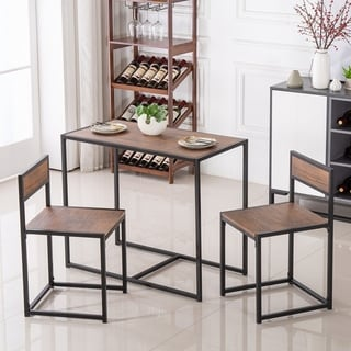 Modern Dining Bar Table and Stool Set (Set of 3)