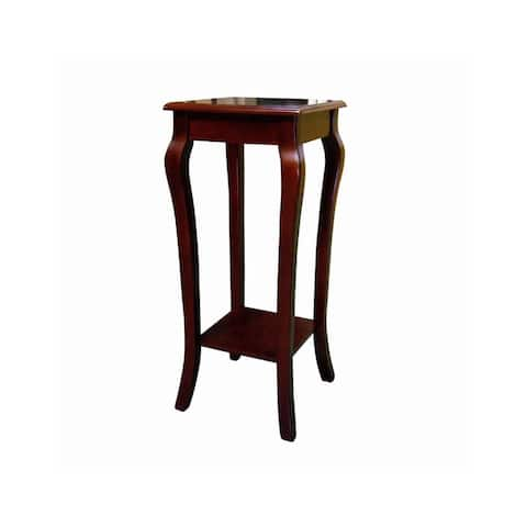 Square Wooden Flower Stand with Bottom Shelf and Curved Legs, Cherry Brown