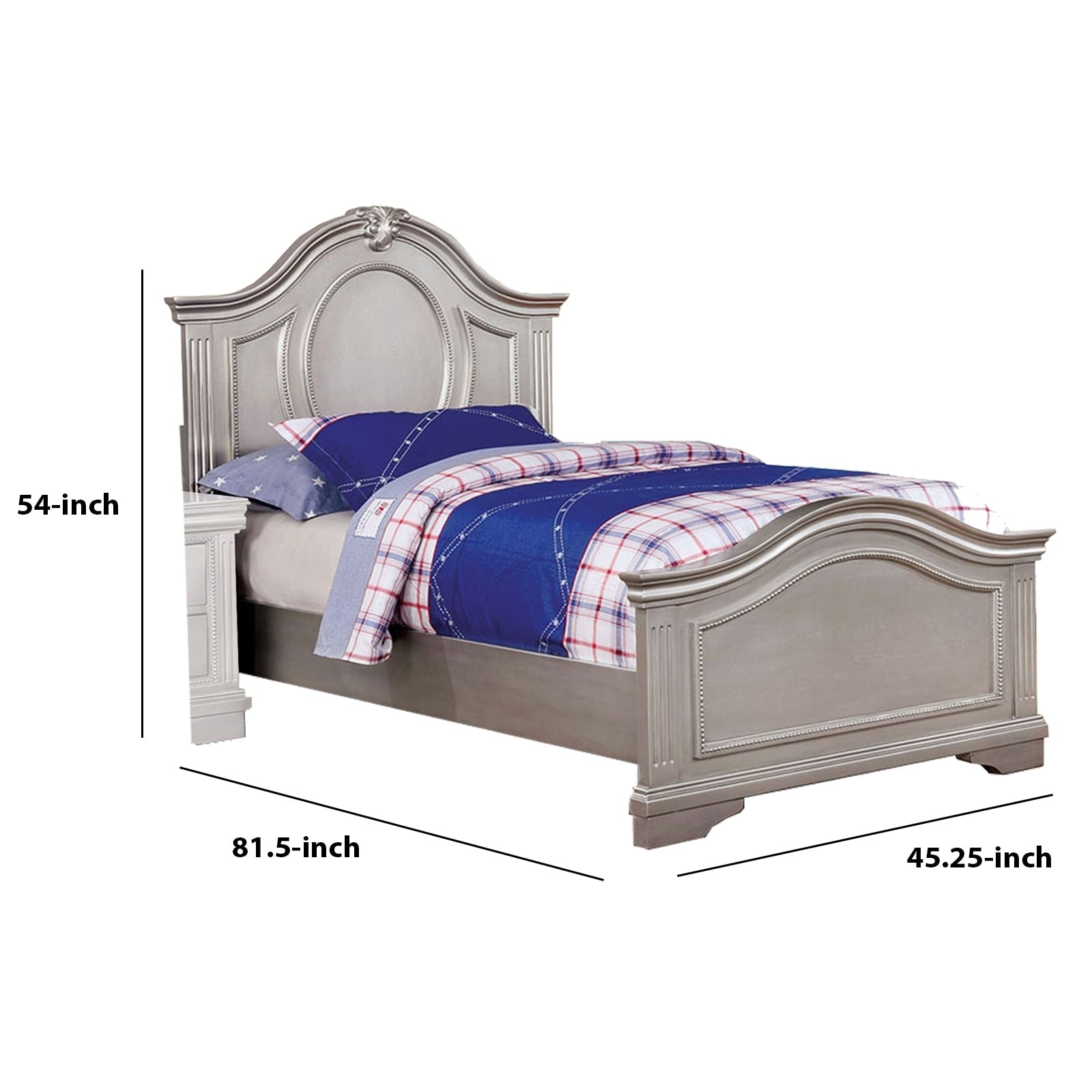 Picture of: Shop Black Friday Deals On Twin Bed With Camelback Headboard And Footboard Silver On Sale Overstock 30898266