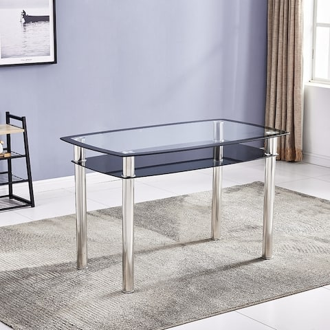 120x70x75cm Double Glazed Glass Dining Table Stainless