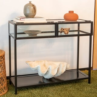 Claira Glass and Metal Console Table