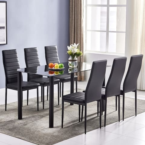 Simple Dining Room Kitchen Table and 6 High Backrest Chairs (Set of 7)