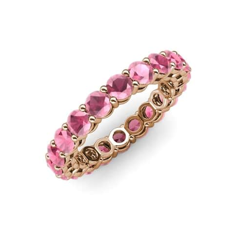Trijewels Rhodolite Garnet 3 1/3 ctw Womens Eternity Ring 14KR Gold