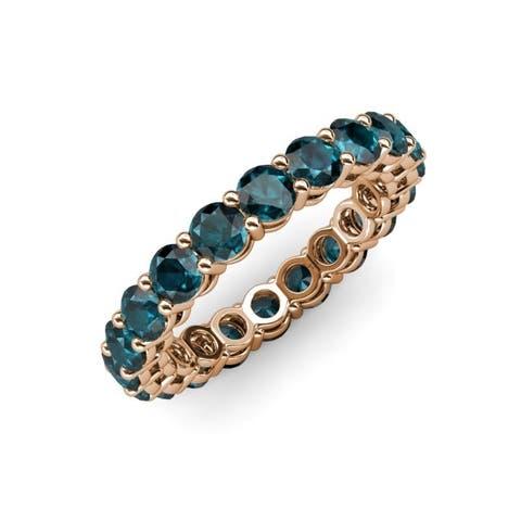 Trijewels London Blue Topaz 2 3/4 ctw Womens Eternity Ring 14KR Gold