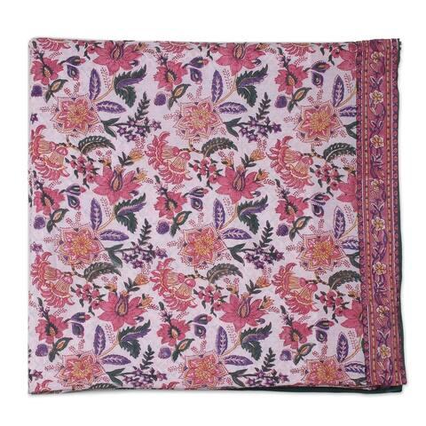 Handmade Festive Spring Cotton Duvet Cover and Pillow Sham Set 3 PCS (India)