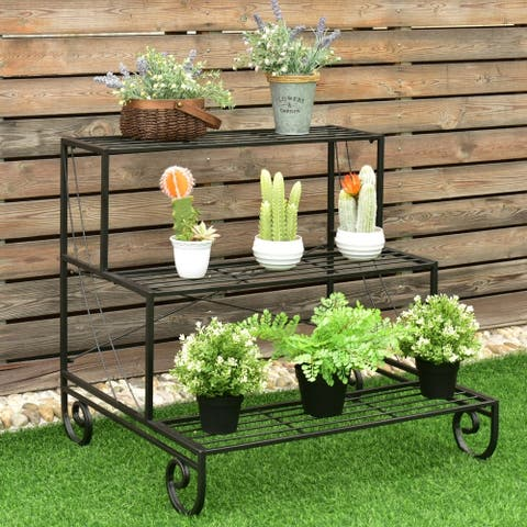 Kaivu 3-tier Black Metal Flower Plant Shelf Display Rack by Havenside Home