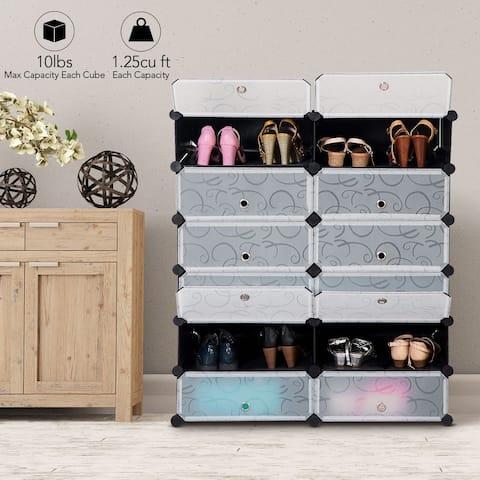 12 Cubic PP Shoe Cabinet Portable Shoes Rack Storage Organizer