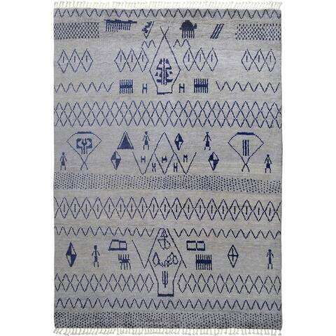 """Decorative Tribal Geometric Moroccan Area Rug Hand-Knotted Carpet - 7'10"""" x 10'4"""""""