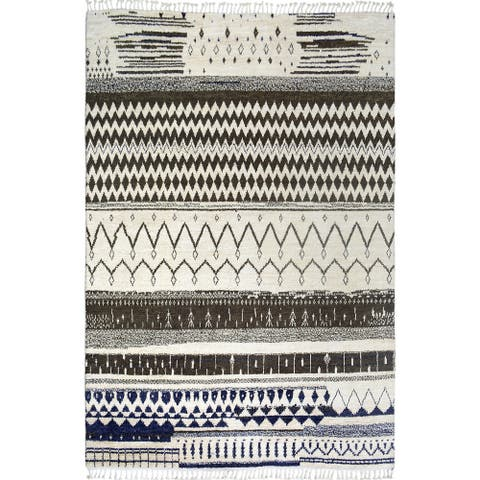 """Tribal Moroccan Oriental Scandinavian Style Area Rug Hand-Knotted - 7'10"""" x 10'5"""""""