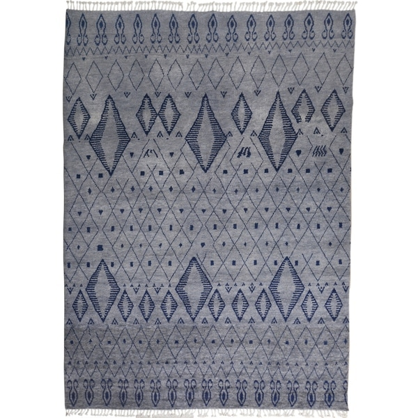 "Tribal Moroccan Home Decor Area Rug Hand-Knotted Living Room Carpet - 8'11"" x 12'6"". Opens flyout."