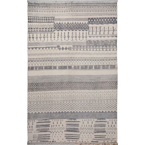"Large Geometric Moroccan Oriental Living Room Area Rug Hand-Knotted - 9'6"" x 14'4"""