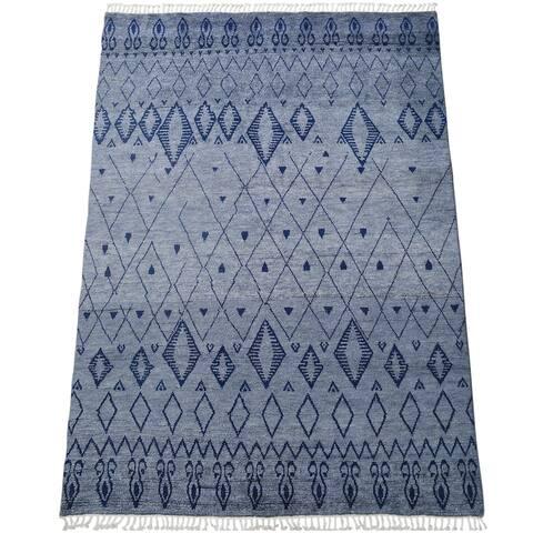 "Tribal Diamond Moroccan Oriental Area Rug Handmade Living Room Carpet - 7'9"" x 10'3"""