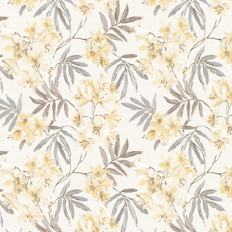 Shop Linen Floral Wallpaper In Cream Yellow Greys Overstock