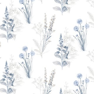 Link to Flora Wallpaper in Blues & Greys Similar Items in Wall Coverings