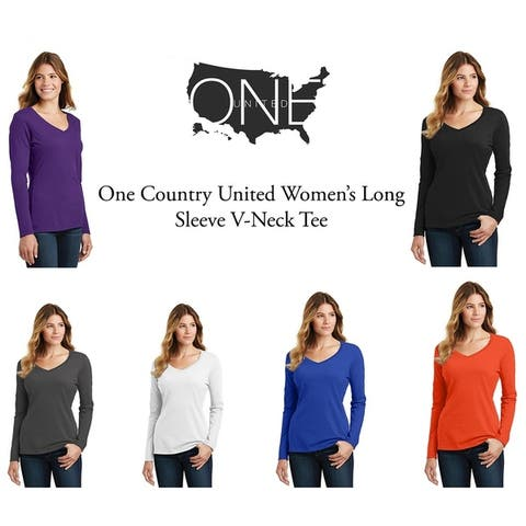 One Country United Women's Long Sleeve V-Neck Tee