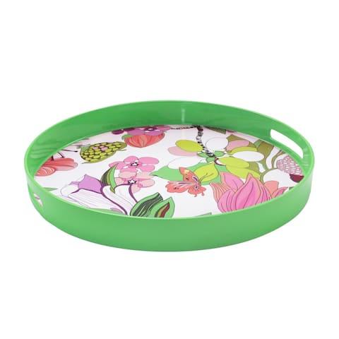 Trina Turk Spring Floral-Green Round Tray