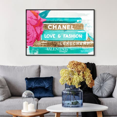 Oliver Gal Fashion and Glam Wall Art Framed Canvas Prints 'Ideals of Style' Books - Blue, Gold