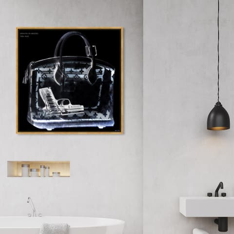 Oliver Gal Fashion and Glam Wall Art Framed Canvas Prints 'Couture X Ray' Handbags - Black, White