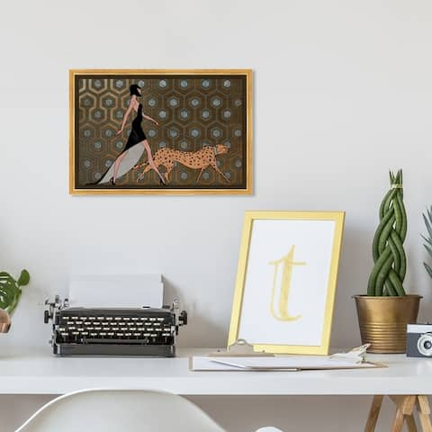 Oliver Gal Fashion and Glam Wall Art Framed Canvas Prints 'Own the Street' Runway - Bronze, Orange