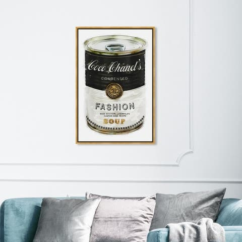 Oliver Gal Fashion and Glam Wall Art Framed Canvas Prints 'Fashion Soup' Soup Can - Black, White