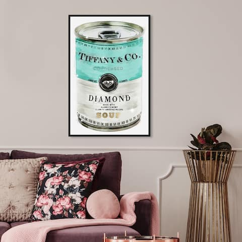 Oliver Gal Fashion and Glam Wall Art Framed Canvas Prints 'Priceless Can' Soup Can - Blue, White