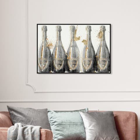Oliver Gal Drinks and Spirits Wall Art Framed Canvas Prints 'Dom Marbles' Champagne - Gray, Gold