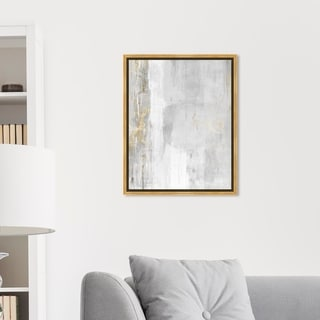 Link to Oliver Gal Abstract Wall Art Framed Canvas Prints 'Abstract Elegance' Paint - White, Gray Similar Items in Canvas Art