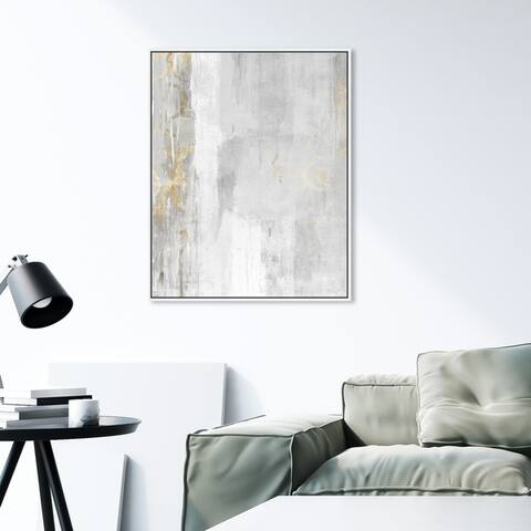 Oliver Gal Abstract Wall Art Framed Canvas Prints 'Abstract Elegance' Paint - White, Gray