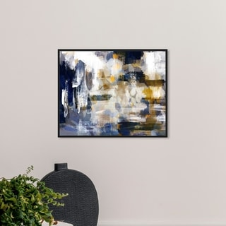 Link to Oliver Gal Abstract Wall Art Framed Canvas Prints 'Nadando' Paint - Blue, White Similar Items in Canvas Art