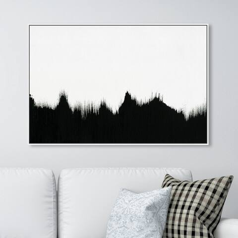Oliver Gal Abstract Wall Art Framed Canvas Prints 'That Lava' Paint - Black, White