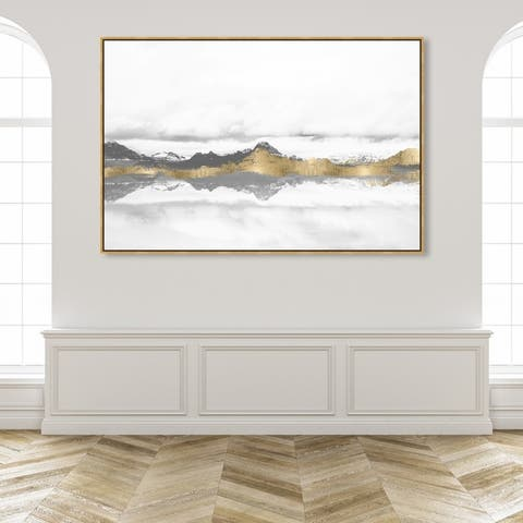 Oliver Gal Abstract Wall Art Framed Canvas Prints 'Stood Still and Wondered Gold' Mountains - Gray, Gold