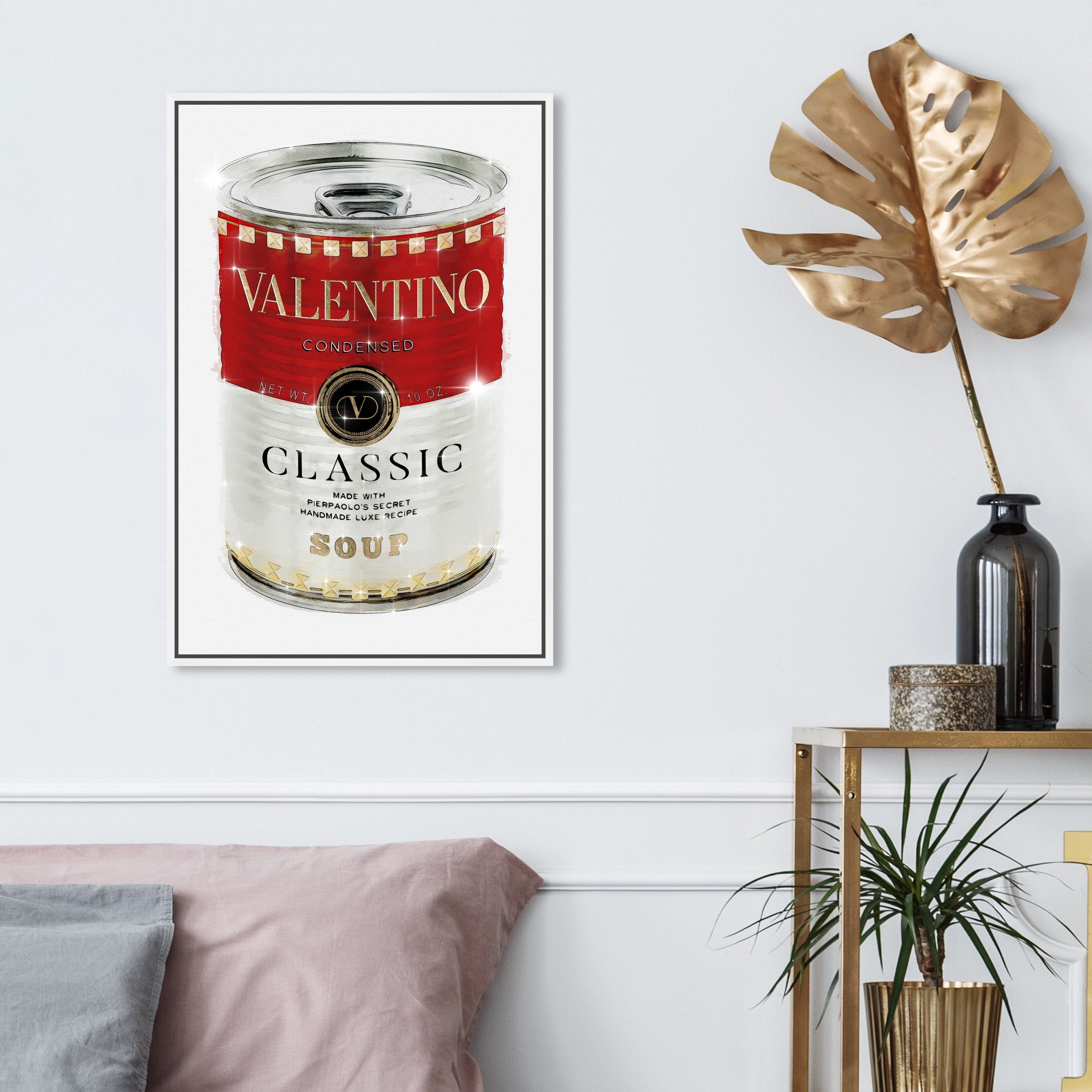 Oliver Gal Fashion And Glam Wall Art Framed Canvas Prints Rockstud Soup Soup Can Red White Overstock 30901199