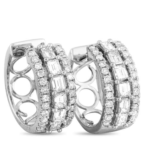 LB Exclusive White Gold Diamond Huggie Earrings